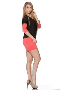 laza Color Block Felső - Coral - Black