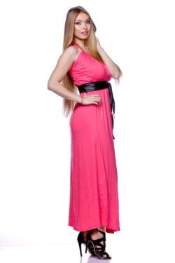 Lánc nyakpántos  maxi ruha - Hot Pink
