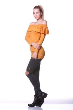 Fodros nyakú mini ruha - Mustard