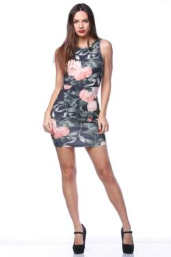 Mini ruha - Black - Rose floral print