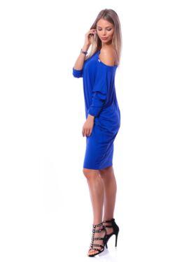 Oldal zsebes laza mini ruha - Rolyal Blue
