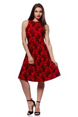 Csipke nyomott mintás mini ruha - Red