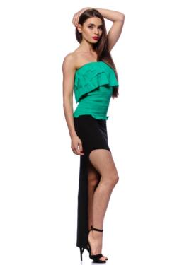 Smocked Tube Top With Ruffles - Green