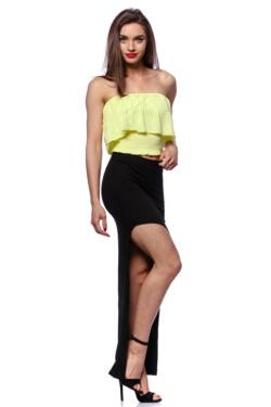 Smocked Tube Top With Ruffles - Yellow