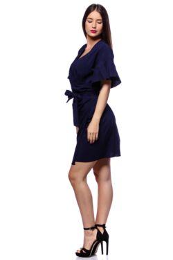 Tölcsér ujjú átlapolt mini ruha - Dark Blue