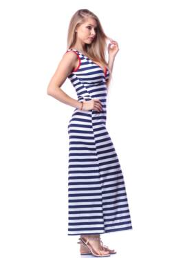 Maxi ruha - White - Navy Blue - Red