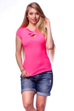 Neon színű keresztpántos póló - Neon Pink
