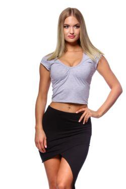 Húzott nyakú póló - Melange Grey