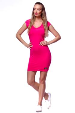 Húzott nyakú póló ruha - Hot Pink