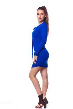 Fűzős nyakú mini ruha - Rolyal Blue