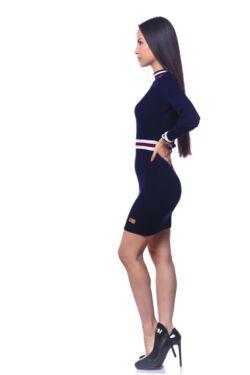Csíkos kötött mini ruha - Dark Blue