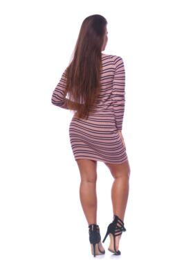 Csíkos bordázott mini ruha