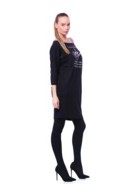 Oldal zsebes laza mini ruha - Black