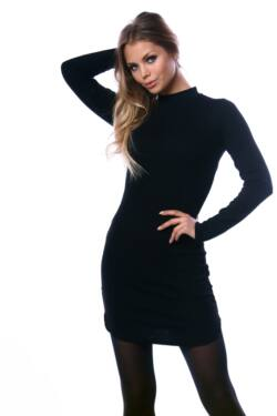Félgarbó nyakú mini ruha - Black