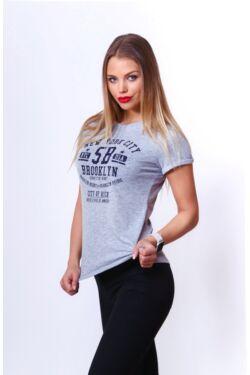 Nyomott mintás póló - Melange Grey