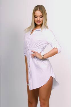 Derékkötős ing ruha - White