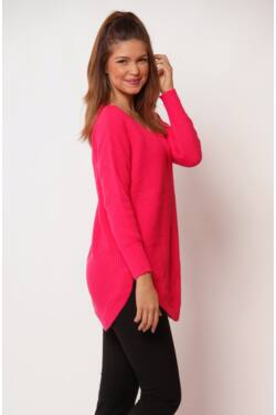 V nyakú pulóver - Pink