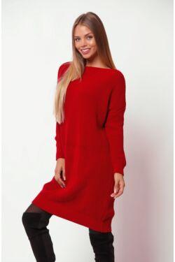 Csónak nyakú hosszított pulóver - Red