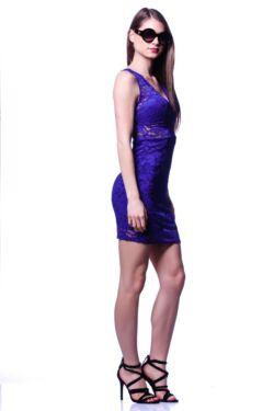 Csipkés mini ruha - Rolyal Blue