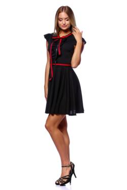 Fit And Flare Mini Dress With Ribbon - Black