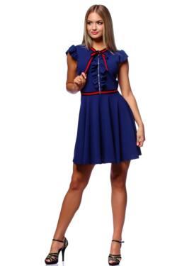 Fit And Flare Mini Dress With Ribbon - Denim Blue