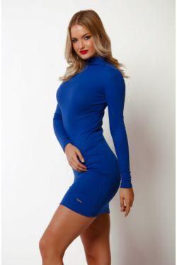 Félgarbó nyakú mini ruha - Rolyal Blue