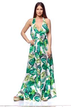 Trópusi Mintás Maxi Ruha - Green Floral Print