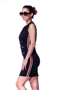 Testhezálló Gombos Mini Ruha - Black