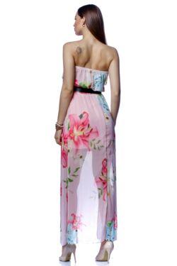 Vállra húzott virágmintás midi ruha