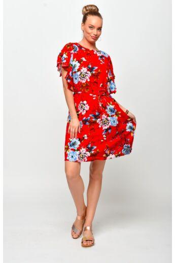 Megkötős derékú mini ruha - Red