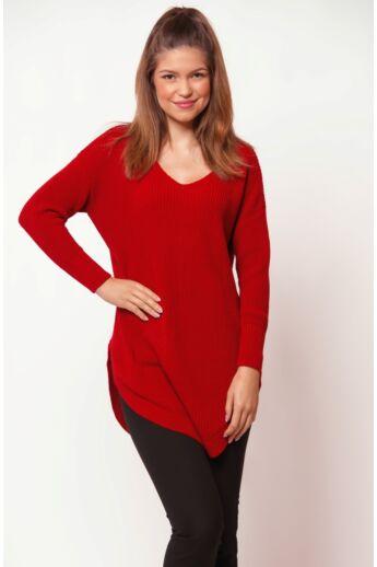 V nyakú pulóver - Red