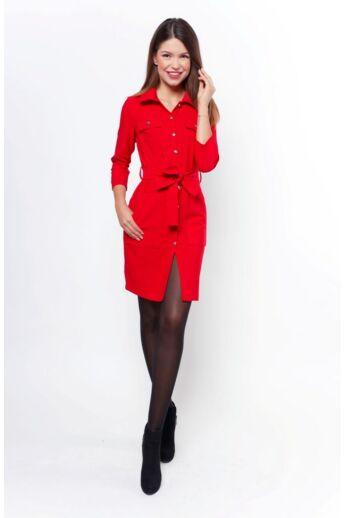 Megkötős ing ruha - Red