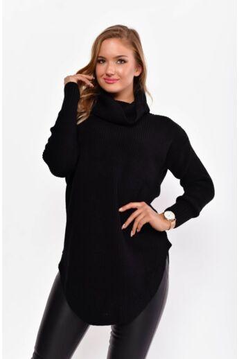 Kámzás nyakú pulóver - Black