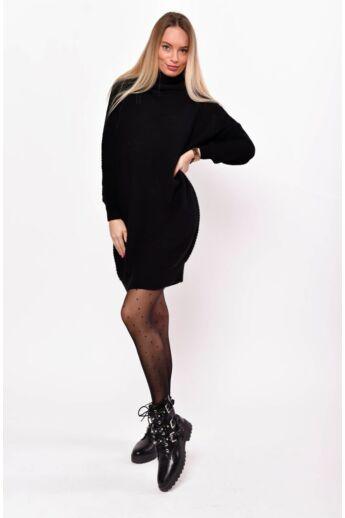 Kámzás nyakú hosszított pulóver - Black