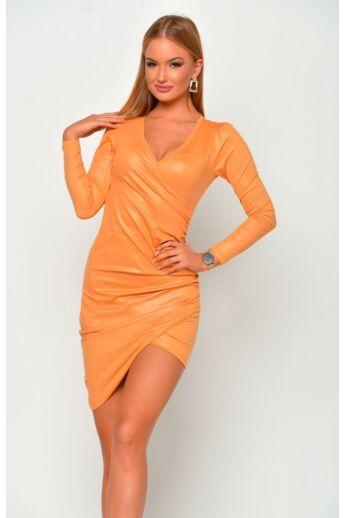 Bőrhatású, átlapolt ruha - Mustard