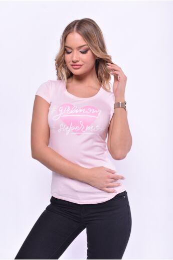 Nyomott mintás póló - Quartz Rose