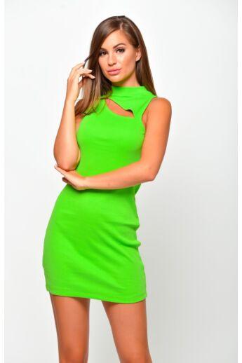 Nyakán kivágott bordás mini ruha - Neon Green