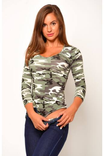 Terepmintás V-nyakú body - Camouflage Beige