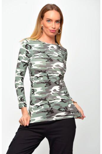 Hosszú ujjú felső - Camouflage Green