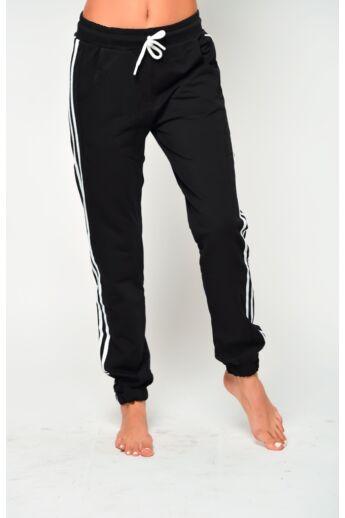 Passzés aljú szabadidő nadrág - Black