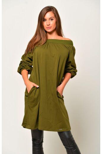 Oldal zsebes laza mini ruha - Khaki
