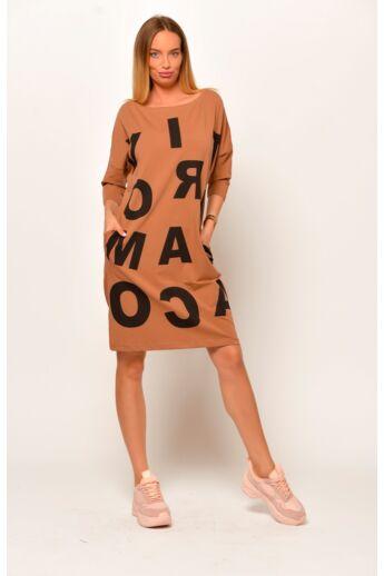 Nyomott mintás mini ruha - Mocha
