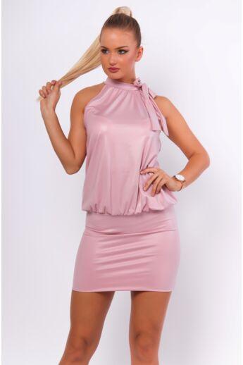 Ujjatlan megkötős nyakú mini ruha - Dusty Rose