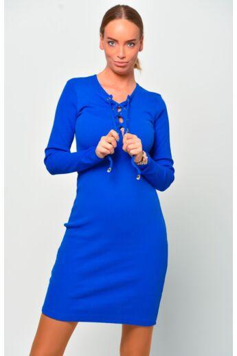 Fűzős bordás mini ruha