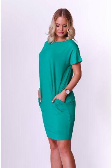 Rövid ujjú bőszabású mini ruha - Zöld