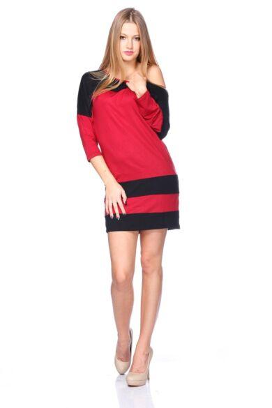 Több színből varrott, laza felső/Color Block oversize ruha - Bordeaux - Black
