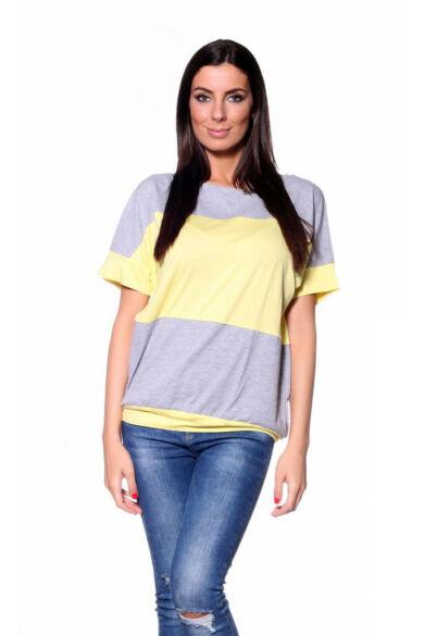 Széles csíkos, bőfazonú felső - Melange Grey Yellow