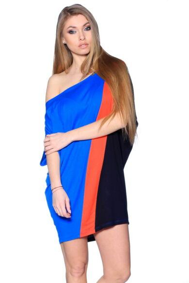 Több színből varrott, laza felső. Color Block oversize ruha - Rolyal Blue - Coral - Black