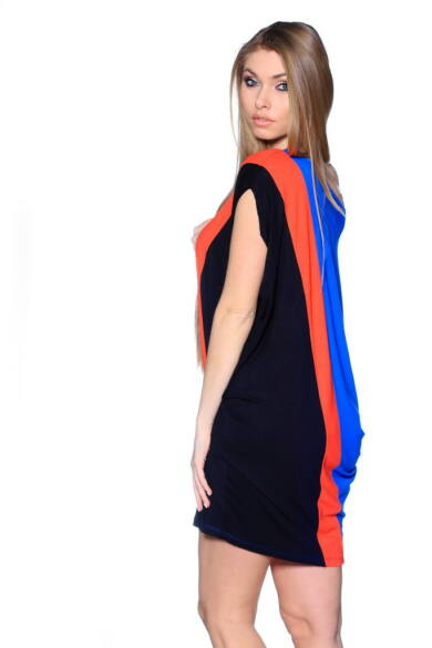 Color Block Oversized Top Rolyal Blue - Coral - Black