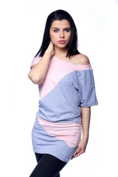 Több színből álló mini ruha /Color Block miniruha - Melange Grey - Rose Quartz